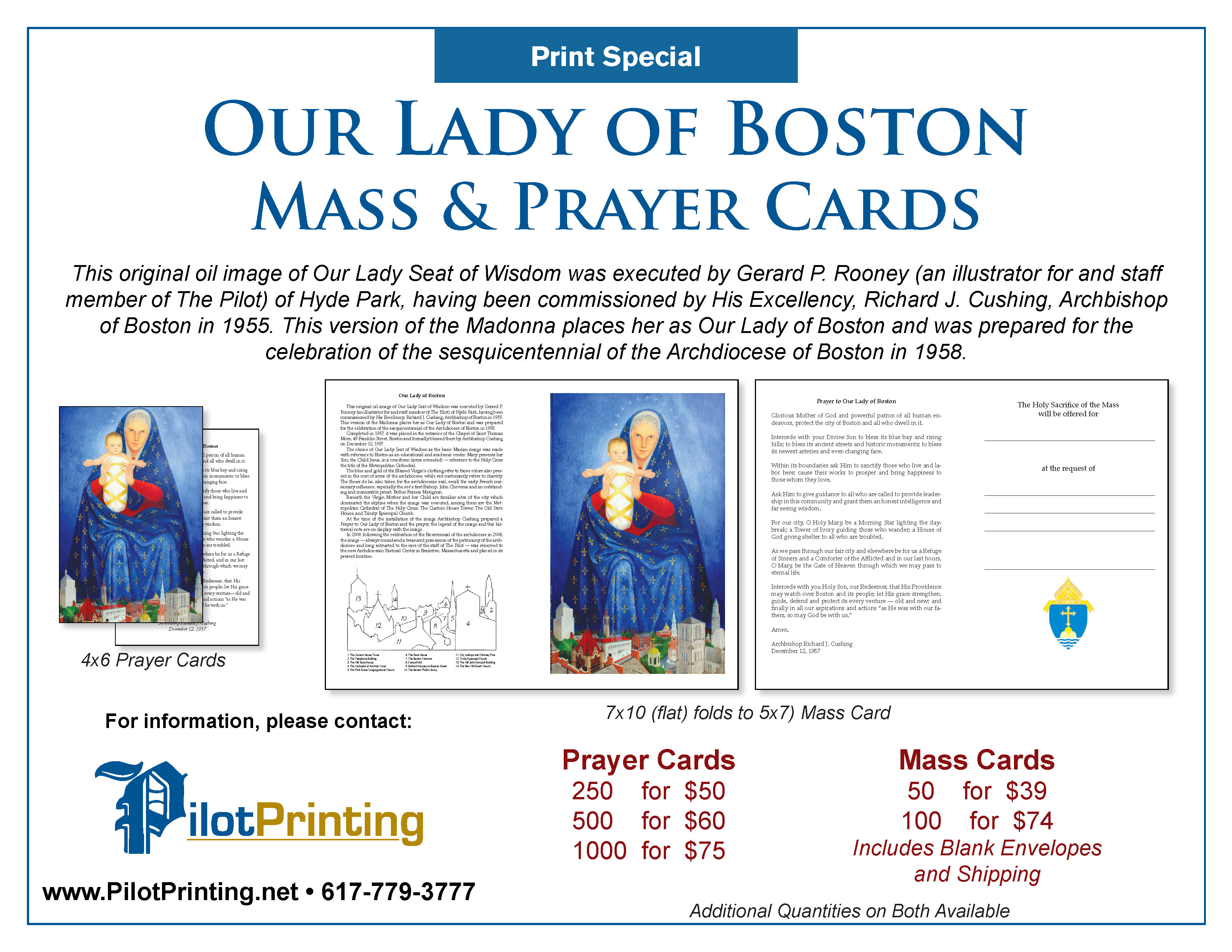 our lady of boston prayer cards