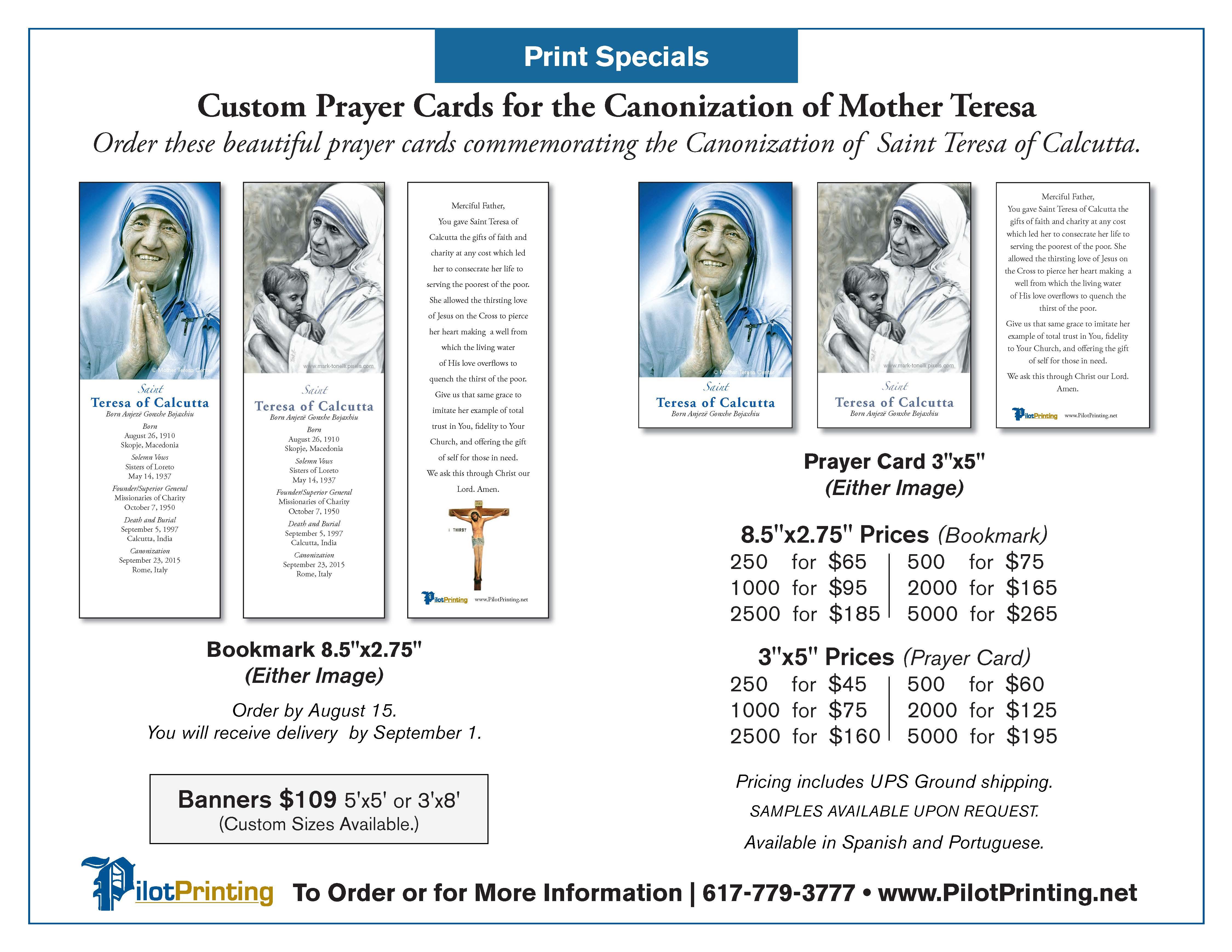 mother teresa prayer cards