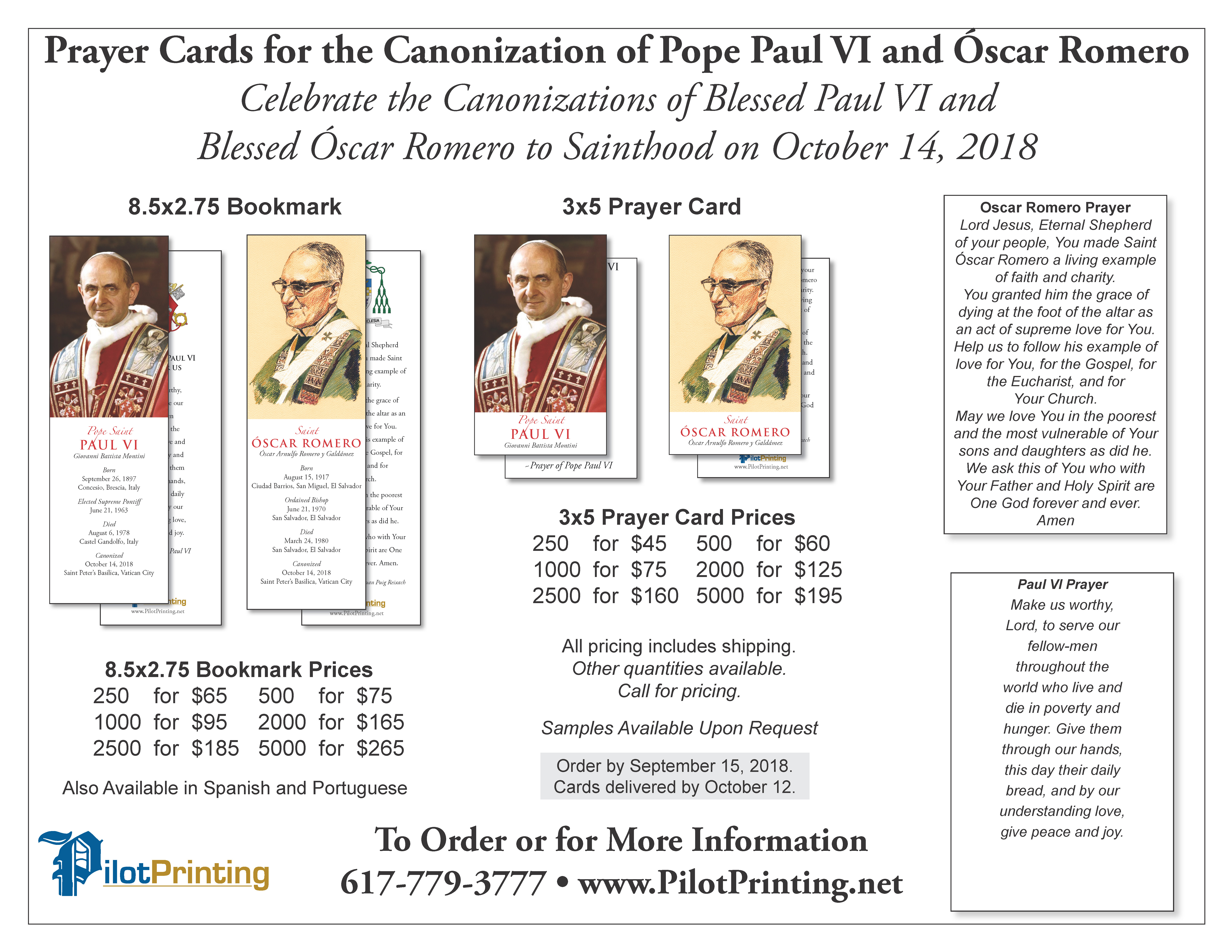 Pope Paul VI And Romero Prayer Cards Bookmarks