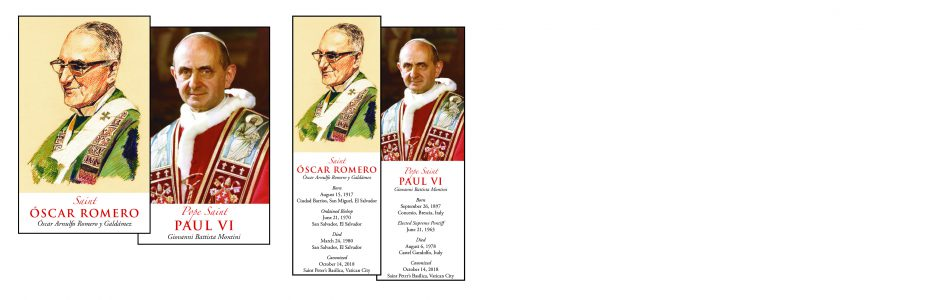 Pope Paul VI and Romero Prayer Cards and Bookmarks